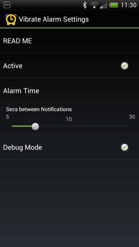 Vibrate Alarm for SmartWatch - screenshot