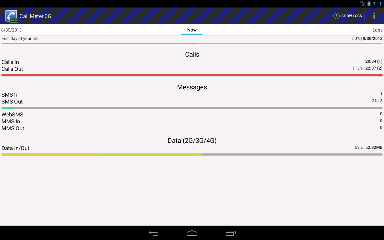 Call Meter 3G: THE monitor app - screenshot