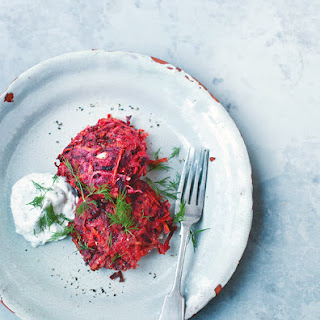 Beet and Carrot Fritterswith Yogurt Dill Sauce