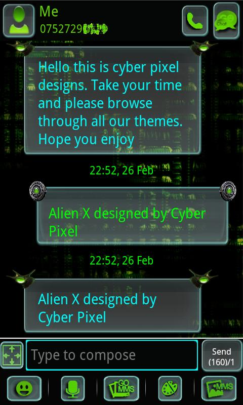 ALIEN X GO SMS Pro - screenshot