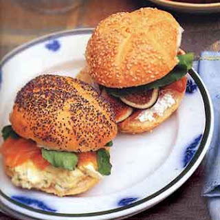 Tarragon-Caper Egg Salad Sandwiches with Smoked Salmon.