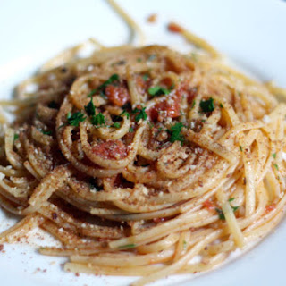 Linguine with Heirloom Tomato, Capers, Anchovies, and Chile.