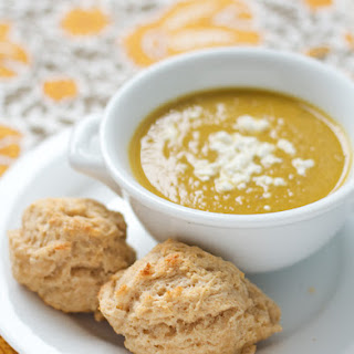 Curried Sweet Potato Soup with Goat Cheese Biscuits