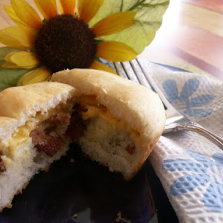Low-Fat Bacon, Egg And Cheese Pancake Muffins.