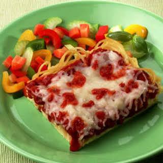 Deep-dish Spaghetti Pizza.