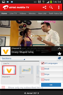 Airtel Live Mobile TV - screenshot thumbnail