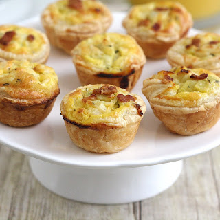 Bacon, Leek and Cheddar Mini Quiches.