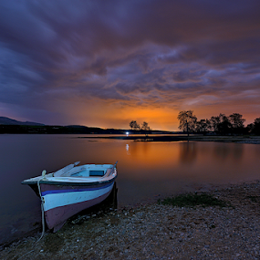 ------- by Dimitrios Lamprou - Landscapes Waterscapes ( water, sunset, trees, long exposure, boat )