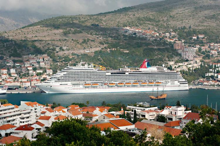 Carnival Breeze docks in historic Dubrovnik, Croatia.