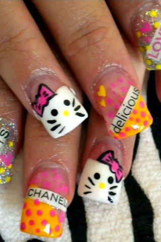 Hello kitty nail design - screenshot
