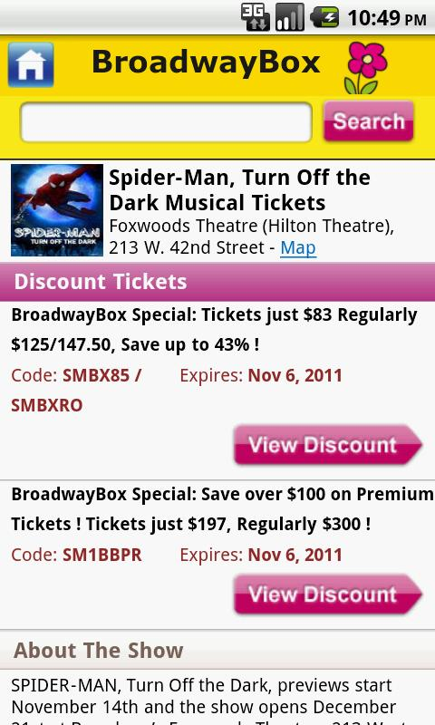 BroadwayBox Discounts - screenshot