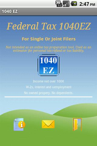 Federal Tax 1040EZ- screenshot