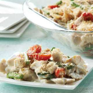 Creamy Baked Farfalle with Chicken, Asparagus & Tomatoes.
