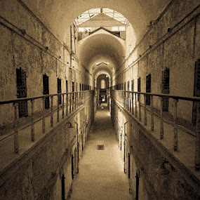 Eastern State Penitentiary Hallways by Jack Turkel - Black & White Buildings & Architecture ( prison, eastern_state_penitentiary;abandoned, decrepit )