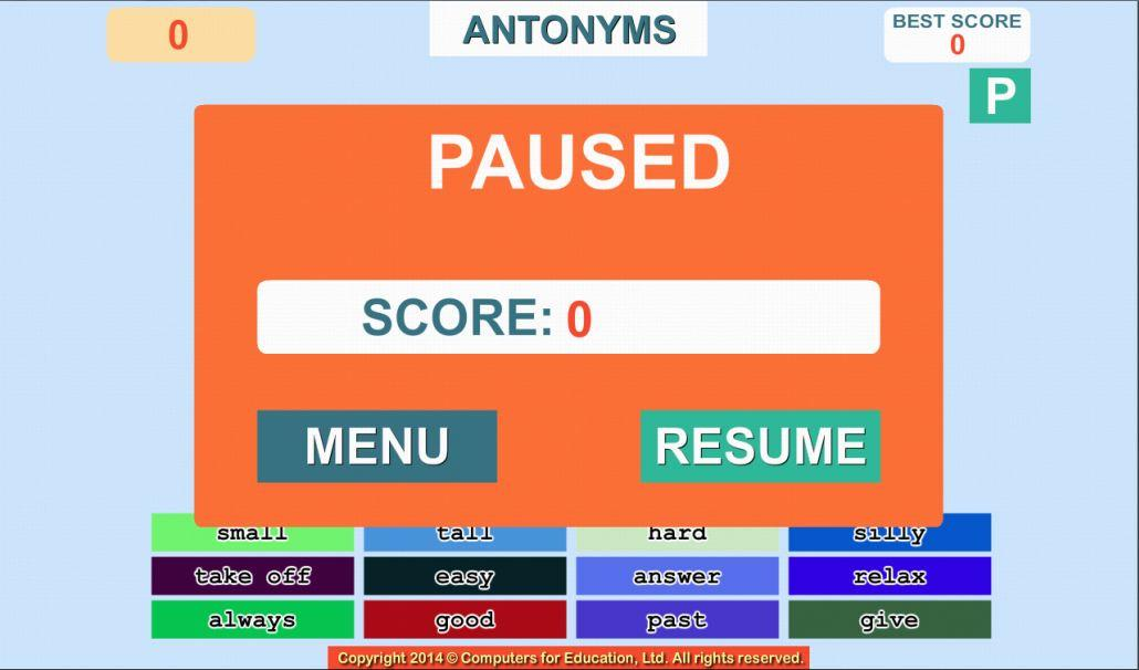 WORDFALL verb synonym antonymS- screenshot