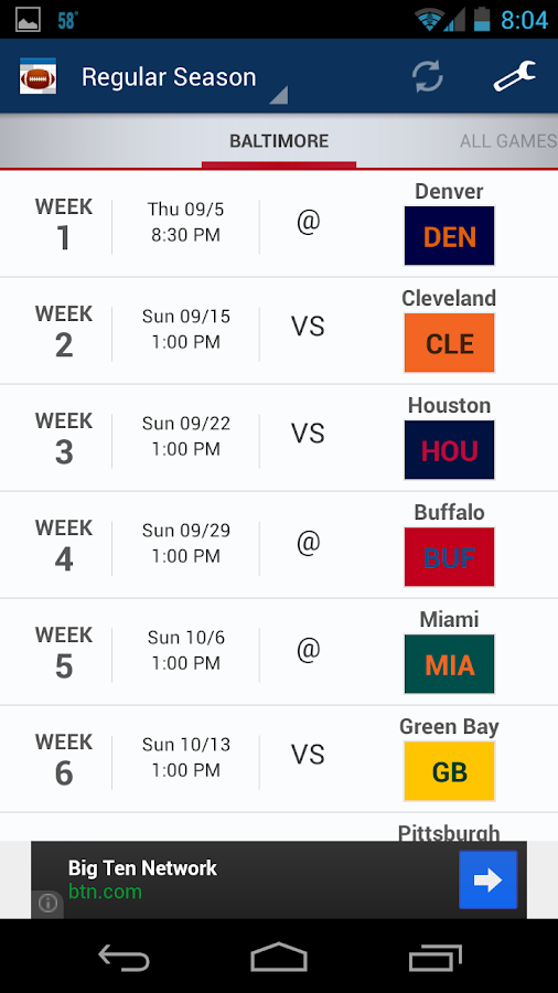 Football Schedule 2013 - screenshot