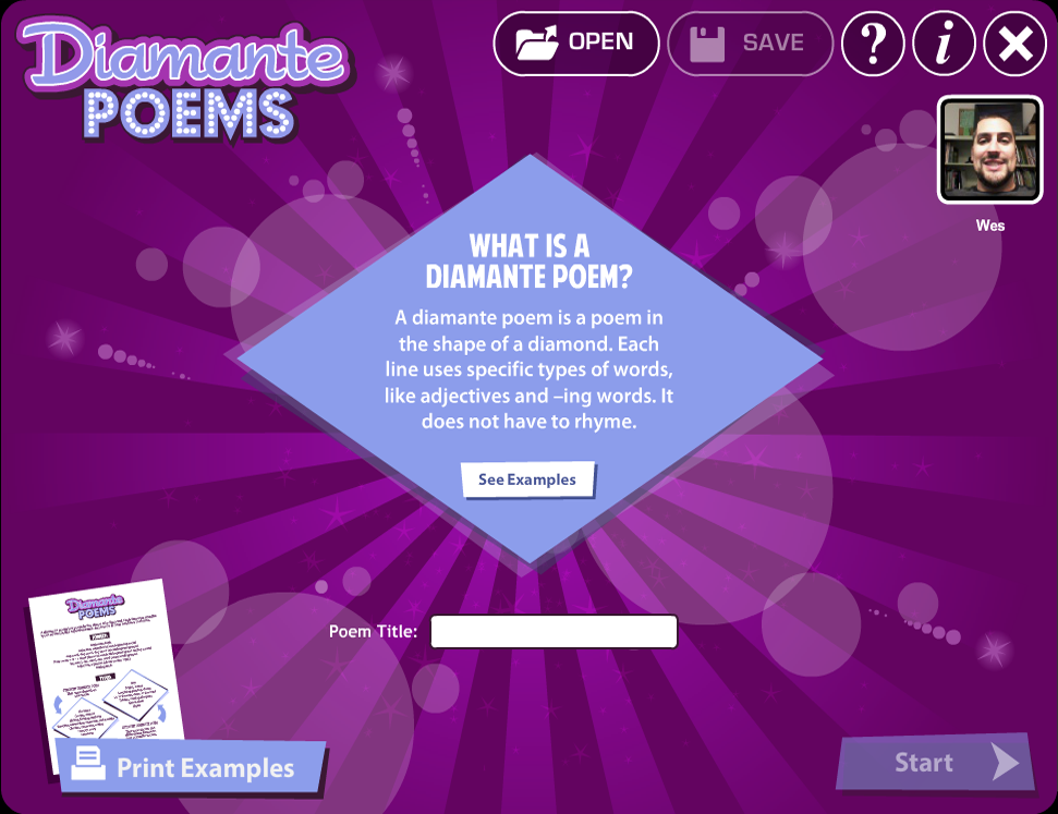 Diamante Poems- screenshot