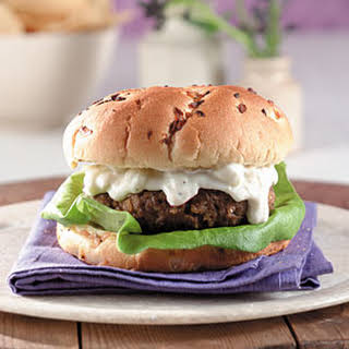 Lamb Burgers with Feta-Cucumber Raita.