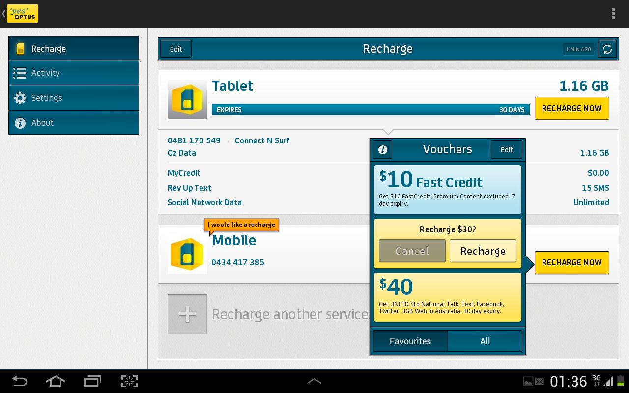Optus Recharge Now - screenshot
