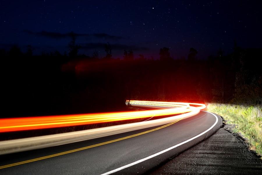 Jeep trails by Andrew Hale - City,  Street & Park  Night ( streak, jeep, stars, drive, street, star, night, travel, road, light, hawaii )