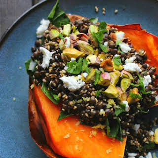 Lentil Stuffed Sweet Potatoes with Chard, Feta & Pistachios.