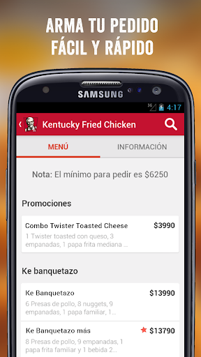 KFC DELIVERY CHILE screenshot