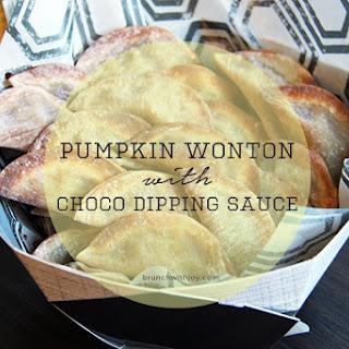 Pumpkin Wonton with Chocolate Dipping Sauce.