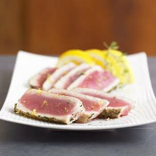 Seared Ahi Tuna with Green Peppercorn-Thyme Crust.