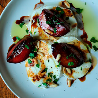 Buffalo Mozzarella with Balsamic Glazed Plums, Pine Nuts and Mint.