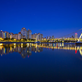 Blue hour at Tanjong Rhu, Singapore by Joyce Chang - City,  Street & Park  Night ( kallang river, singapore, tanjong rhu )