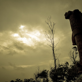 Scarcity. by Souvik Kundu - Buildings & Architecture Decaying & Abandoned ( sky, wide angle, trees, decay, abandoned )