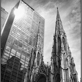 Old & New In New York by Griff Johnson - Buildings & Architecture Places of Worship ( office, tower, b&w, skyscraper, church, black and white, new york )