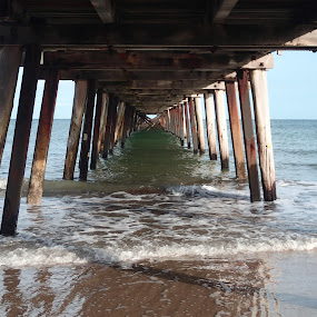 Jetty reflections by Pamela Howard - Buildings & Architecture Bridges & Suspended Structures ( water, sand, reflection, structure, wooden, sky, sea, beach, jetty )