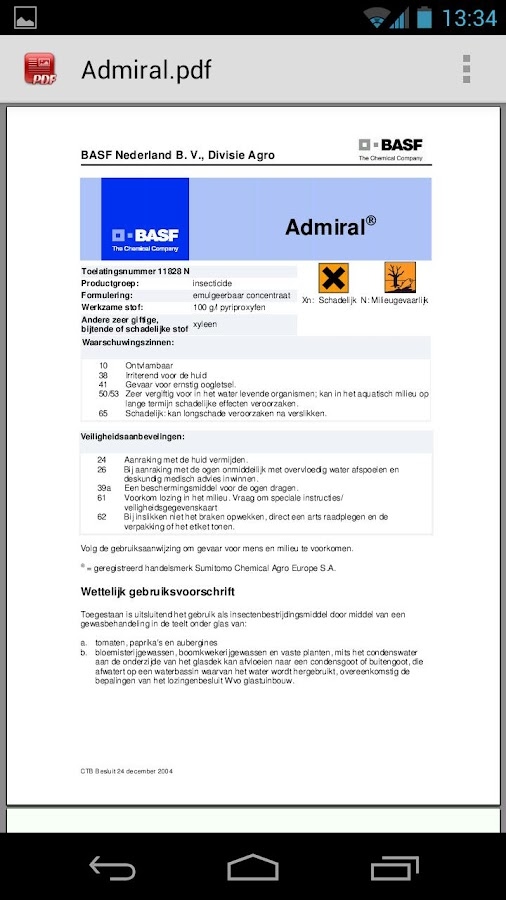 BASF producten- screenshot