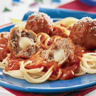 Cheesy Stuffed Meatballs & Spaghetti.