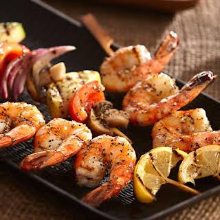 Grilled Lemon Pepper Shrimp & Vegetable Kabobs.
