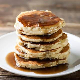 Banana Pancakes with Maple Rum Syrup.