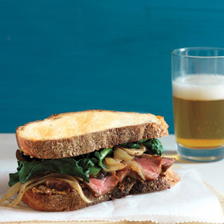 Steak Sandwiches with Sauteed Mushrooms and Spinach.
