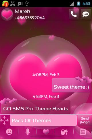GO SMS Pro Theme Hearts- screenshot