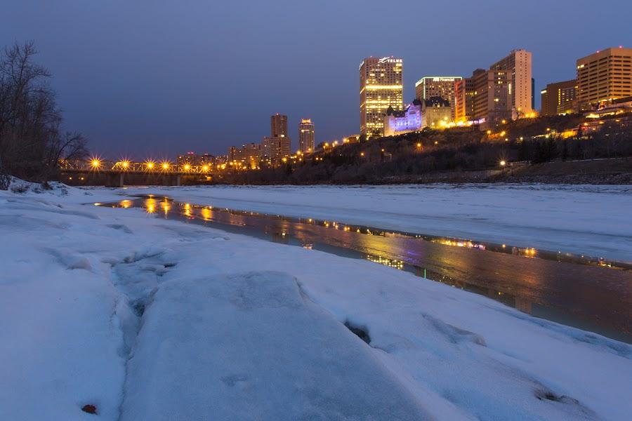 Edmonton City by Chuxiong Miao - City,  Street & Park  Night ( icy, melting, snow, edmonton, evening,  )