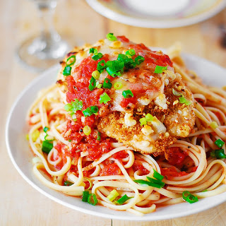 Chicken Parmesan Pasta In A Garlic Tomato Sauce