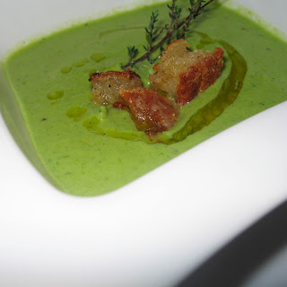 Asparagus, Thyme & Garlic Soup w/ Parmesan Croutons