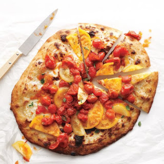 Ricotta Pizza with Fresh and Roasted Tomatoes.