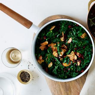 Sautéed Kale with Chorizo and Crispy Garlic.