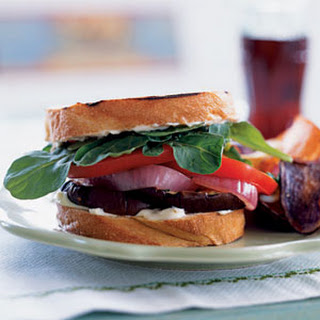 Grilled Eggplant Sandwiches with Red Onion and Aioli Recipe