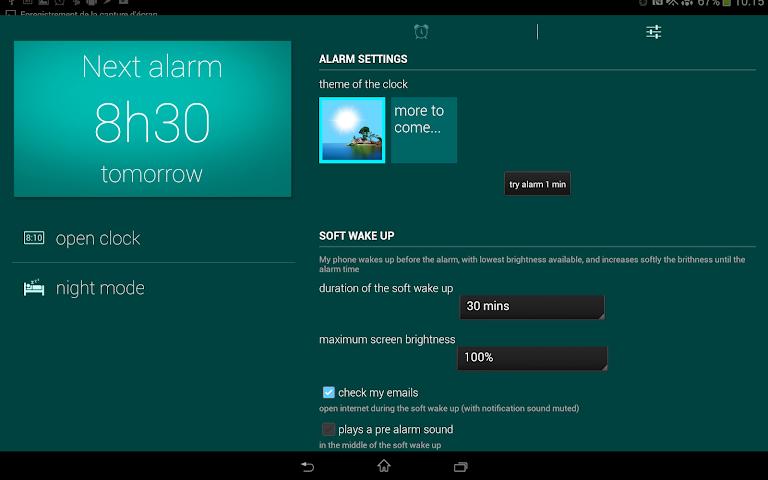 android Glimmer (luminous alarm clock) Screenshot 1