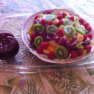 Colorful and Healthful Salad with Raspberry Vinaigrette.