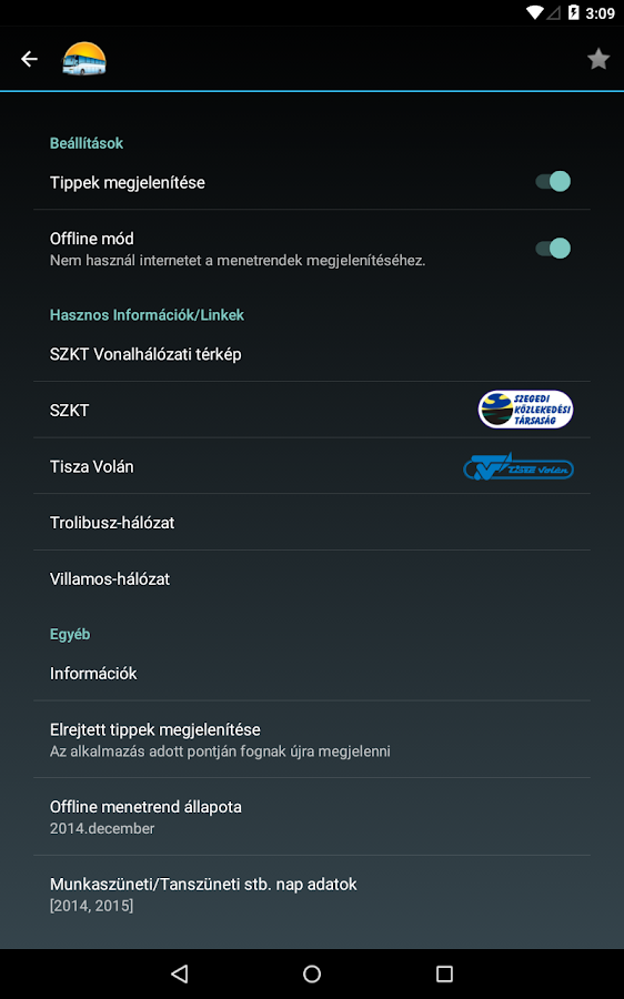 Szegedi Menetrend- screenshot