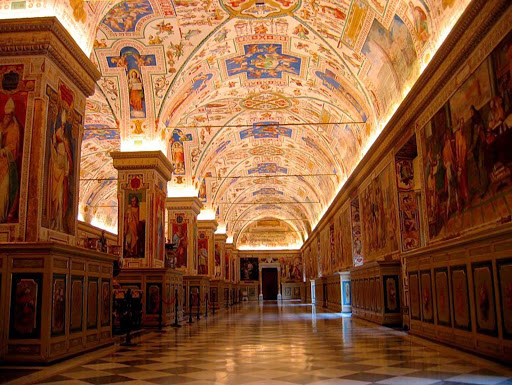 Inside the Vatican Museum Library.