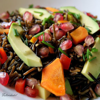 Wild Rice Salad with Pomegranates and Avocado.